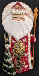 GOLDEN UZOR HAND PAINTED RUSSIAN SANTA CLAUS w/ DECORATED CHRISTMAS TREE #6830
