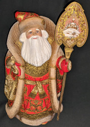 WOW! FANTASTIC RED & GOLD HAND PAINTED RUSSIAN SANTA #1838 w/MAIL SATCHEL & BIRD