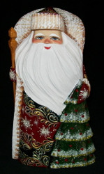 GOLDEN UZOR HAND PAINTED RUSSIAN SANTA CLAUS w/ DECORATED CHRISTMAS TREE #6844