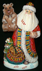MARVELOUS RED & GOLD RUSSIAN SANTA CLAUS 7442 – LITTLE RUSSIAN BEAR & X-MAS TREE
