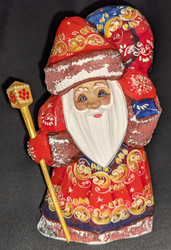 A DELIGHTFUL HAND PAINTED RUSSIAN SANTA CLAUS #0726