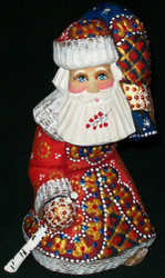 HANDPAINTED LOVELY BRIGHT RED & GOLD STOOPED SANTA CLAUS w/ PACK #5593