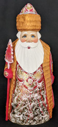 BRIGHT, RED & GOLD, SHINY, HAND PAINTED LINDEN WOOD SANTA CLAUS #5882