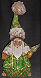 A BEAUTIFUL HANDPAINTED GREEN & GOLD RUSSIAN SANTA #5141 HANDCARVED WOOD STATUE