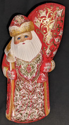 HANDPAINTED BRIGHT SHINY RUSSIAN LINDEN WOOD SANTA CLAUS #5704 - GOLD & RED