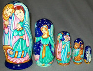 NATIVITY 5 PC HAND PAINTED RUSSIAN MATRYOSHKA NESTING SET #5902