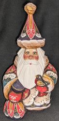 DELIGHTFUL HAND CARVED & PAINTED RUSSIAN SANTA CLAUS w/TOY SACK & BIRD #1162