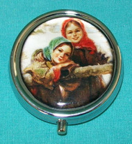 RUSSIAN HAND CRAFTED METALLIC PILL BOX - YOUNG MAIDENS #5670