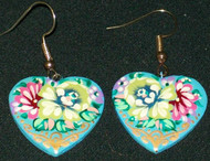 BEAUTIFUL BLUE, GREEN PINK & PURPLE FLORAL HANDCRAFTED RUSSIAN PAPIER MACHE EARRINGS #7766