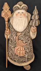 VERY LOVELY HAND CARVED LINDEN WOOD SANTA w/ TRADITIONAL RUSSIAN FIREBIRD #5736
