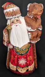 GOLD & RED HAND PAINTED RUSSIAN SANTA CLAUS w/ TRADITIONAL RUSSIAN BEAR #4476