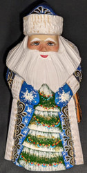 GOLDEN UZOR GRANDFATHER FROST w/CHRISTMAS TREE #6886 HAND PAINTED RUSSIAN SANTA