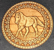 BIRCH BARK SIBERIAN FOLK ART MIRROR – WILD HORSE ON THE RUSSIAN STEPPE #2004