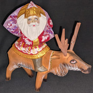 FUN HAND PAINTED RUSSIAN LINDEN WOOD SANTA CLAUS RIDING A REINDEER #6708