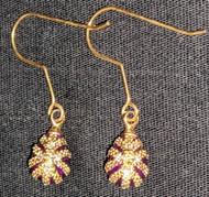 FANTASTIC ROYAL PURPLE FABERGE RUSSIAN EGG EARRINGS #2686 - GOLD STARBURST