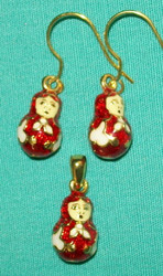 FUN MATRYOSHKA NESTING DOLL SHAPED EARRINGS & CHARM - RED & WHITE #2717
