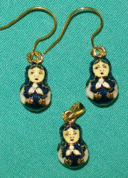 FUN MATRYOSHKA NESTING DOLL SHAPED EARRINGS & CHARM - BLUE & WHITE #2719