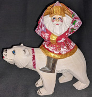 BEAUTIFUL SANTA CLAUS ON A POLAR BEAR – HAND PAINTED RUSSIAN WOODEN STATUE #4728
