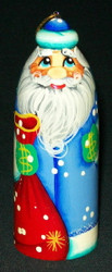 RUSSIAN SANTA CLAUS HAND PAINTED BLUE CHRISTMAS TREE ORNAMENT #5639