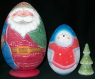 UNIQUE 3PC RUSSIAN EGG SHAPED SANTA CLAUS/SNOWMAN MATRYOSHKA NESTING SET #4816