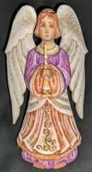 LOVELY PURPLE & GOLD HAND PAINTED RUSSIAN ANGEL STATUE w/TRUMPET #0049