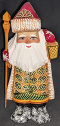 Golden Lantern - Hand Painted Russian Golden Uzor Wooden Santa Claus #9135