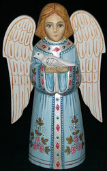 HANDPAINTED BLUE & SILVER RUSSIAN LINDEN WOOD ANGEL HOLDING A DOVE #0428