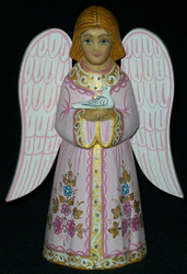 FANTASTIC PINK  & GOLD HAND PAINTED RUSSIAN ANGEL HOLDING A DOVE #0241