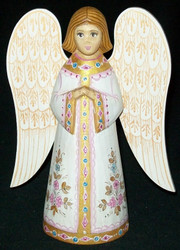 FANTASTIC WHITE  & GOLD HAND PAINTED RUSSIAN ANGEL w/ FLOWERS #0262