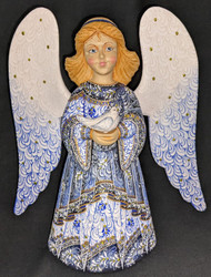 WOW! BEAUTIFUL FLORAL HAND PAINTED LINDEN WOOD ANGEL STATUE BLUE w/CANDLE #1028