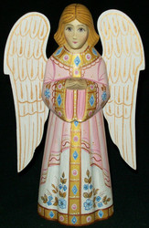 HANDPAINTED PINK & WHITE RUSSIAN LINDEN WOOD ANGEL #0307