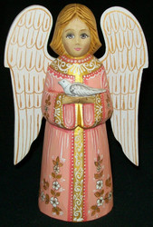 HANDPAINTED PEACH & WHITE RUSSIAN LINDEN WOOD ANGEL #0417