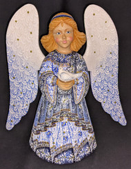 WOW! BEAUTIFUL FLORAL HAND PAINTED LINDEN WOOD ANGEL STATUE BLUE w/CANDLE #0989
