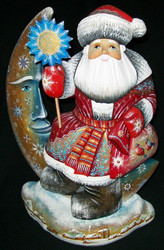 WOW! UNIQUE RUSSIAN HAND PAINTED SANTA CLAUS SITTING ON A GOLDEN MOON #8044