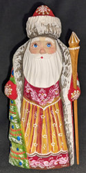 AN AMAZING HAND CARVED & HAND PAINTED RUSSIAN LINDEN WOOD SANTA CLAUS #7606