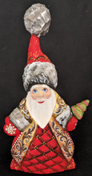 A BRIGHT RED & GOLD HANDPAINTED RUSSIAN SANTA CLAUS #5081 HANDCARVED WOOD STATUE