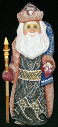 HAND PAINTED GORGEOUS RUSSIAN SANTA #5380 HAND CARVED & PAINTED WOODEN STATUE