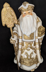 WOW! EXQUISITE HAND CARVED & PAINTED WOODEN SANTA CLAUS w/TREASURE CHEST #1886