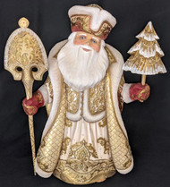 WOW! REGAL HANDPAINTED GOLD & BURGUNDY RUSSIAN SANTA CLAUS w/CHRISTMAS TREE 6594