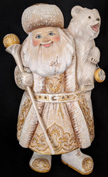 STRIKING GOLD & WHITE HANDPAINTED RUSSIAN SANTA w/POLAR BEAR & POCKET WATCH 4009