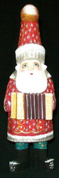 ACCORDION PLAYING GNOME LIKE HAND PAINTED RUSSIAN SANTA CLAUS #1085
