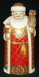HANDPAINTED RUSSIAN RED & GOLD SANTA CLAUS - TRADITIONAL RUSSIAN BEAR #7246