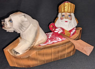 BEAUTIFUL RUSSIAN HAND CARVED & PAINTED SANTA CLAUS & POLAR BEAR IN A CANOE 2695