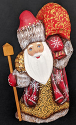 BEAUTIFUL SANTA CLAUS - HAND CARVED & HAND PAINTED RUSSIAN STATUE #0139