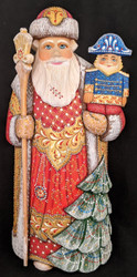 RUSSIAN HAND PAINTED BRIGHTLY COLORED SANTA CLAUS w/NUTCRACKER SOLDIER #0567