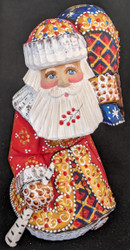 HANDPAINTED LOVELY BRIGHT RED & GOLD STOOPED SANTA CLAUS w/ PACK #5609