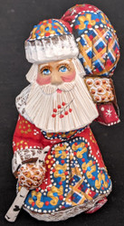 FANTASTIC HAND PAINTED BRIGHT RED, BLUE & GOLD STOOPED SANTA CLAUS w/ PACK #5651
