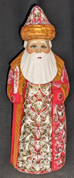 HANDPAINTED BRIGHT SHINY RUSSIAN LINDEN WOOD SANTA CLAUS #5875 - GOLD & RED