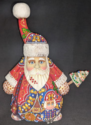 PHENOMINAL GNOME LIKE HAND PAINTED RUSSIAN SANTA CLAUS 5696 w/NUTCRACKER SOLDIER