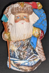 DELIGHTFUL SCENIC HANDPAINTED RUSSIAN SANTA CLAUS w/FISHING CABIN #1255